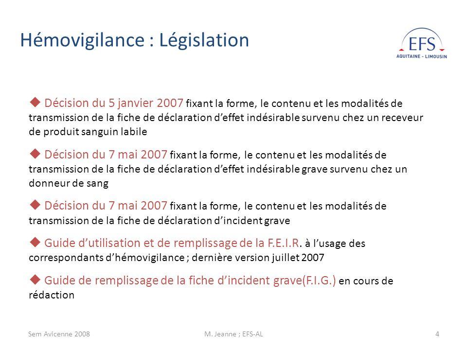 Sem Avicenne 2008M.Jeanne ; EFS-AL5 Lhémovigilance est un élément de la sécurité transfusionnelle.