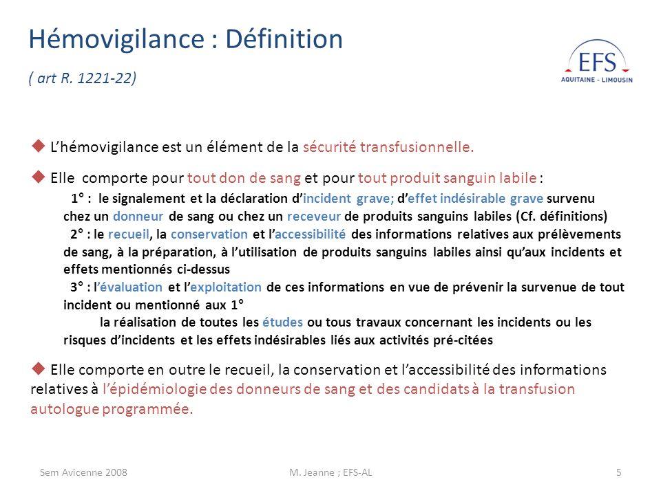 Sem Avicenne 2008M.Jeanne ; EFS-AL6 Définitions des effets indésirables et des incidents.