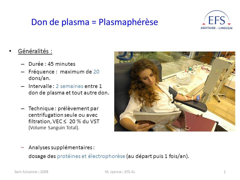 Sem Avicenne ; 2008M. Jeanne ; EFS-AL1 Don de plasma = Plasmaphérèse Généralités : – Durée : 45 minutes – Fréquence : maximum de 20 dons/an. – Interva