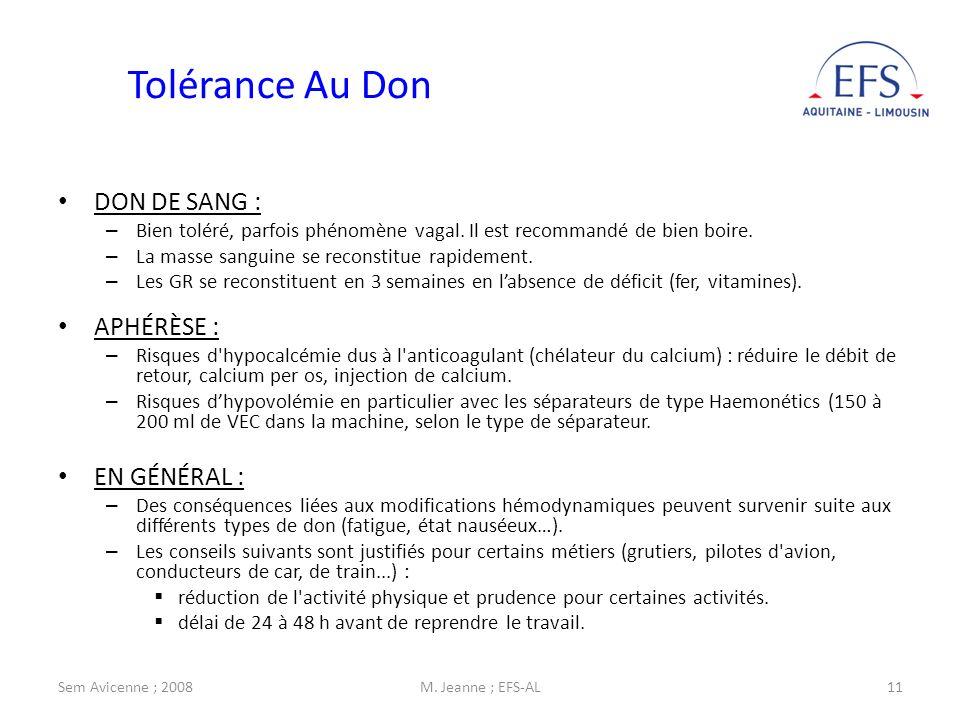Sem Avicenne ; 2008M. Jeanne ; EFS-AL11 Tolérance Au Don DON DE SANG : – Bien toléré, parfois phénomène vagal. Il est recommandé de bien boire. – La m