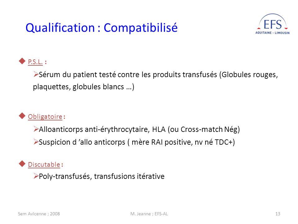 Sem Avicenne ; 2008M. Jeanne ; EFS-AL13 Obligatoire : Alloanticorps anti-érythrocytaire, HLA (ou Cross-match Nég) Suspicion d allo anticorps ( mère RA