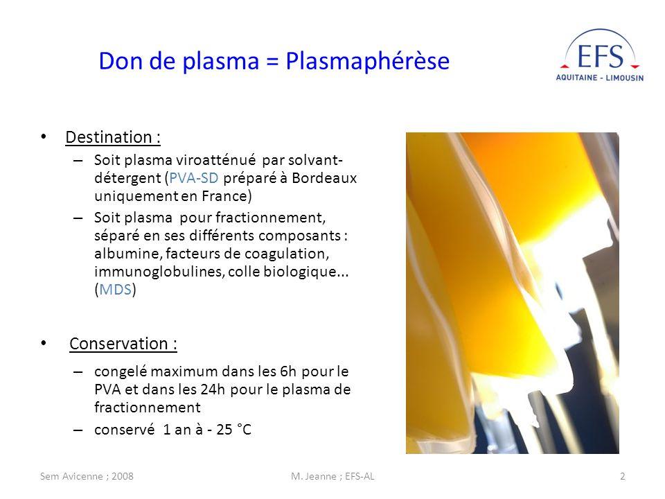 Sem Avicenne ; 2008M. Jeanne ; EFS-AL2 Destination : – Soit plasma viroatténué par solvant- détergent (PVA-SD préparé à Bordeaux uniquement en France)