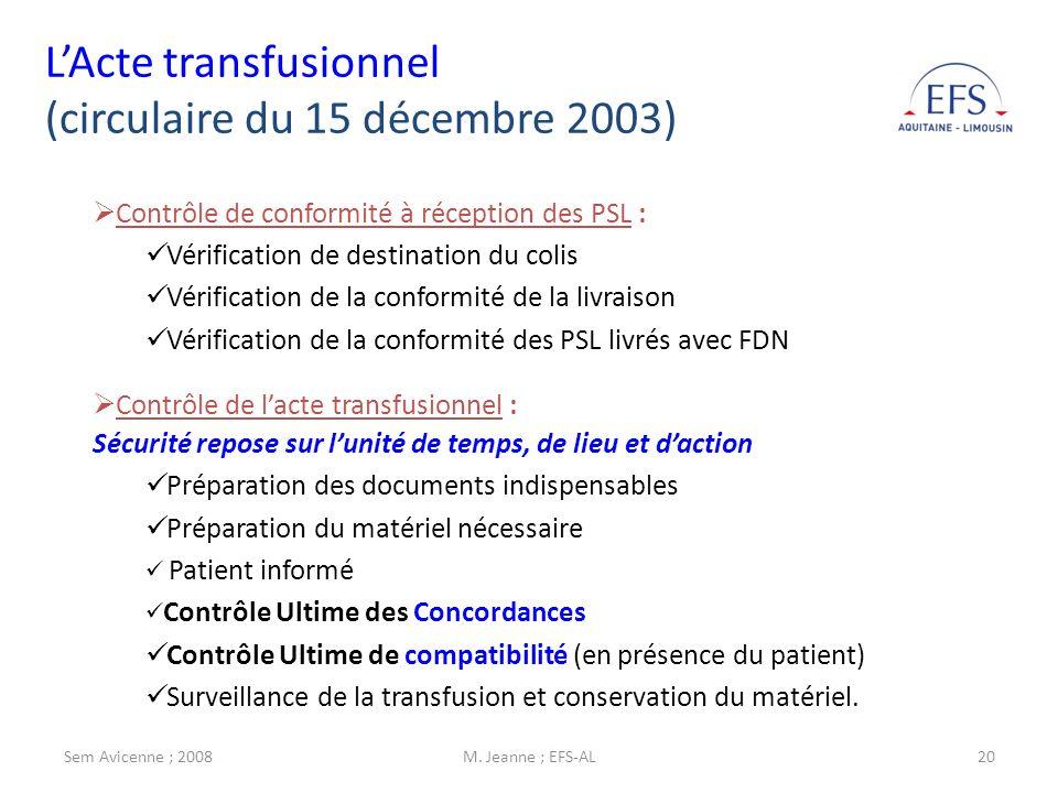 Sem Avicenne ; 2008M. Jeanne ; EFS-AL20 Contrôle de conformité à réception des PSL : Vérification de destination du colis Vérification de la conformit