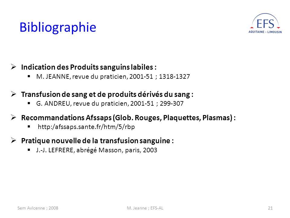 Sem Avicenne ; 2008M. Jeanne ; EFS-AL21 Bibliographie Indication des Produits sanguins labiles : M. JEANNE, revue du praticien, 2001-51 ; 1318-1327 Tr