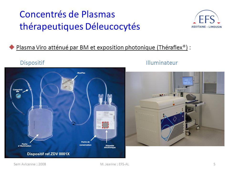 Sem Avicenne ; 2008M. Jeanne ; EFS-AL5 Plasma Viro atténué par BM et exposition photonique (Théraflex®) : Dispositif Illuminateur Concentrés de Plasma
