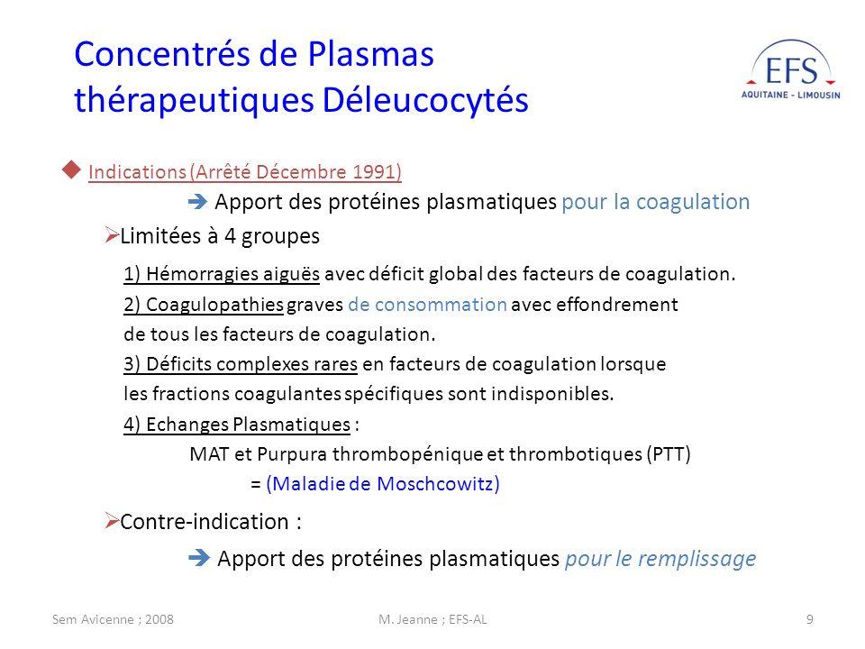 Sem Avicenne ; 2008M. Jeanne ; EFS-AL9 Indications (Arrêté Décembre 1991) Apport des protéines plasmatiques pour la coagulation Limitées à 4 groupes 1
