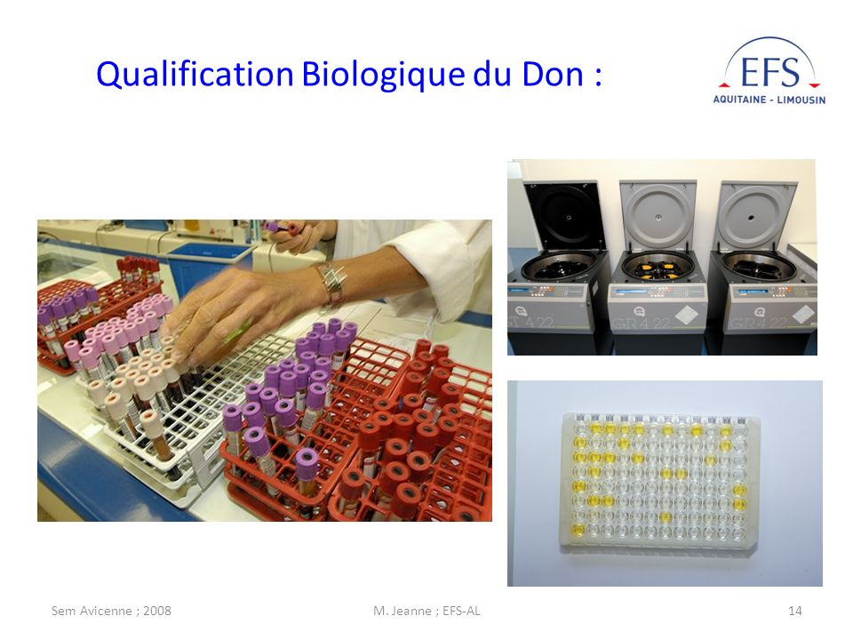 Sem Avicenne ; 2008M. Jeanne ; EFS-AL14 Qualification Biologique du Don :