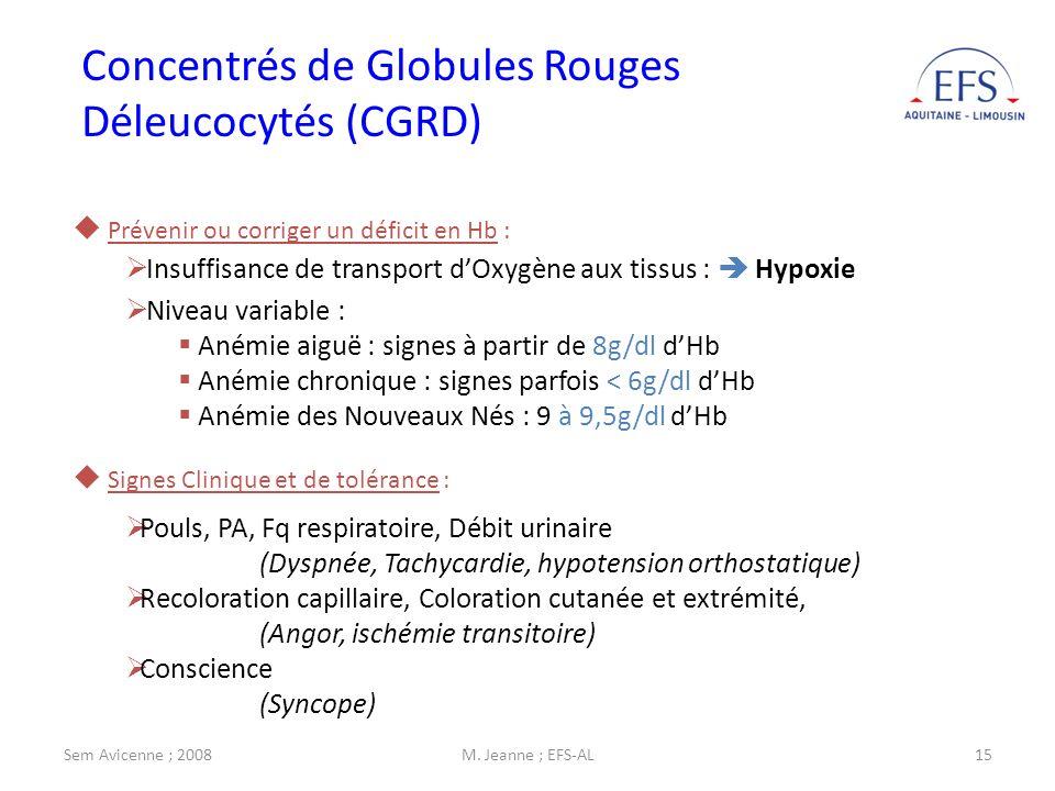 Sem Avicenne ; 2008M. Jeanne ; EFS-AL15 Concentrés de Globules Rouges Déleucocytés (CGRD) Prévenir ou corriger un déficit en Hb : Insuffisance de tran