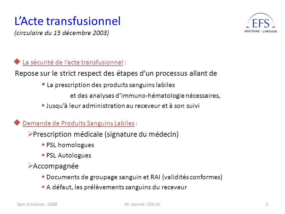 Sem Avicenne ; 2008M. Jeanne ; EFS-AL2 LActe transfusionnel (circulaire du 15 décembre 2003) Demande de Produits Sanguins Labiles : Prescription médic