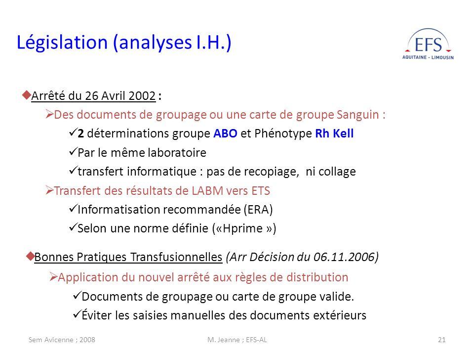 Sem Avicenne ; 2008M. Jeanne ; EFS-AL21 Législation (analyses I.H.) Arrêté du 26 Avril 2002 : Des documents de groupage ou une carte de groupe Sanguin