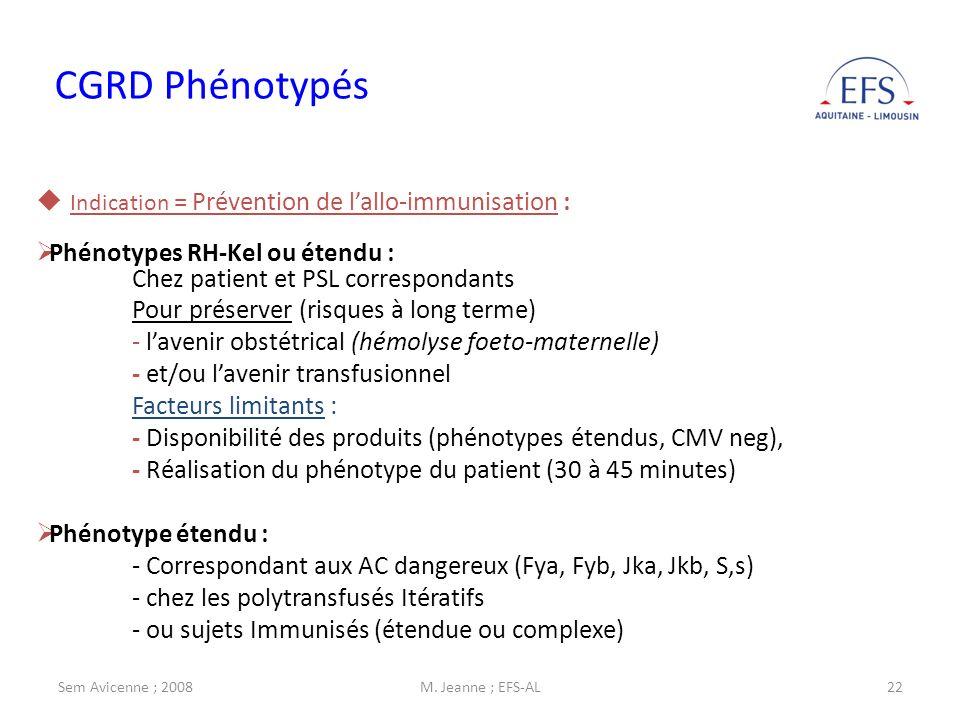 Sem Avicenne ; 2008M. Jeanne ; EFS-AL22 CGRD Phénotypés Indication = Prévention de lallo-immunisation : Phénotypes RH-Kel ou étendu : Chez patient et