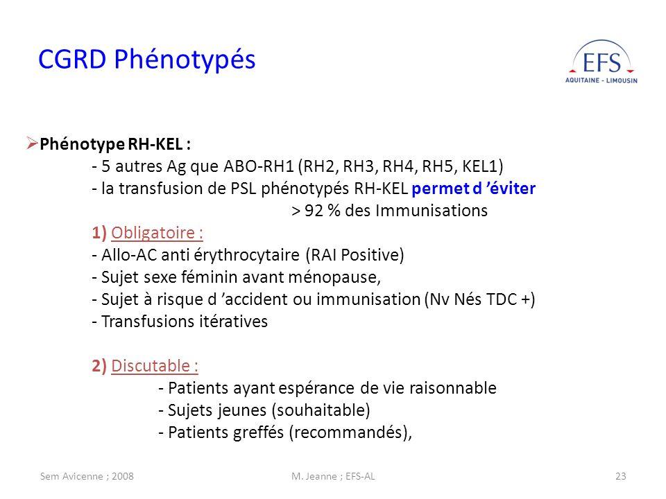 Sem Avicenne ; 2008M. Jeanne ; EFS-AL23 CGRD Phénotypés Phénotype RH-KEL : - 5 autres Ag que ABO-RH1 (RH2, RH3, RH4, RH5, KEL1) - la transfusion de PS