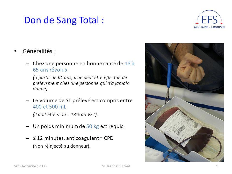 Sem Avicenne ; 2008M. Jeanne ; EFS-AL9 Don de Sang Total : Généralités : – Chez une personne en bonne santé de 18 à 65 ans révolus ( à partir de 61 an