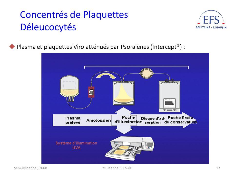 Sem Avicenne ; 2008M. Jeanne ; EFS-AL13 Plasma et plaquettes Viro atténués par Psoralènes (Intercept®) : Système d'illumination UVA Concentrés de Plaq