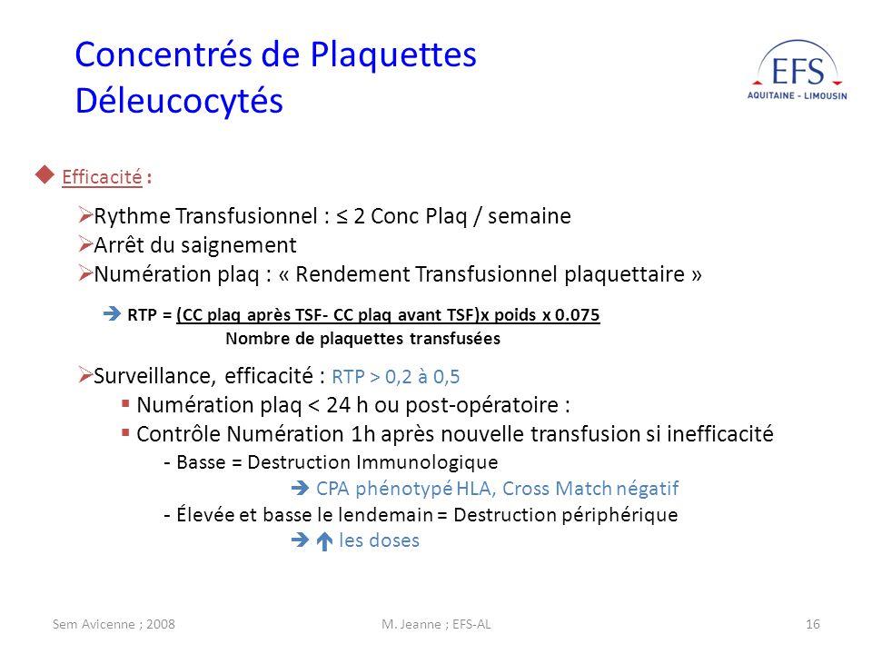 Sem Avicenne ; 2008M. Jeanne ; EFS-AL16 Efficacité : Rythme Transfusionnel : 2 Conc Plaq / semaine Arrêt du saignement Numération plaq : « Rendement T