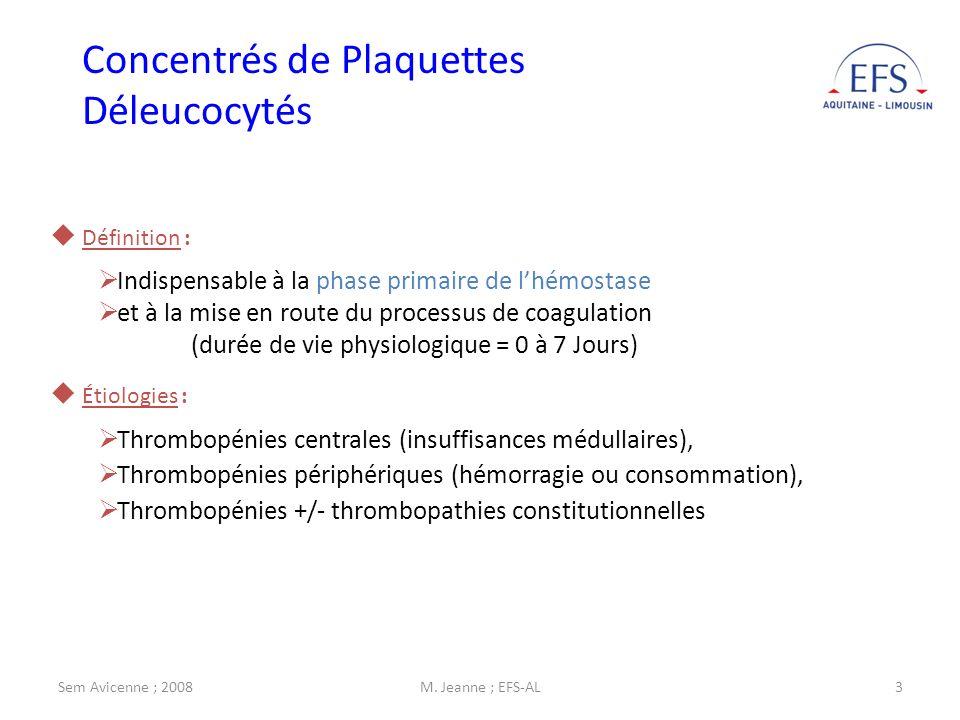 Sem Avicenne ; 2008M. Jeanne ; EFS-AL3 Définition : Indispensable à la phase primaire de lhémostase et à la mise en route du processus de coagulation