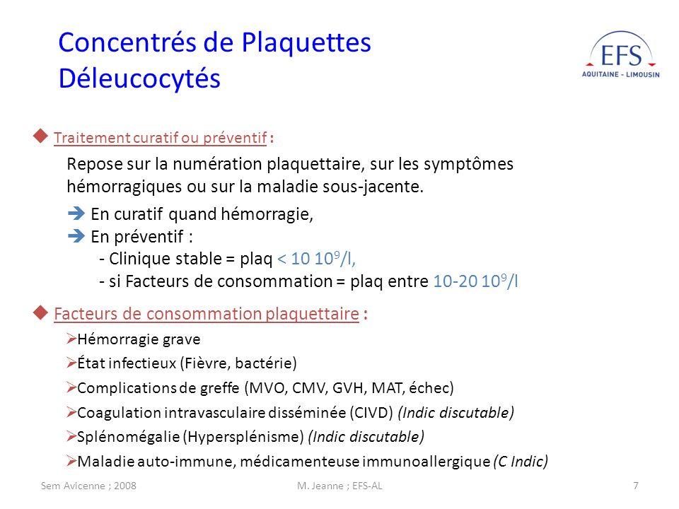 Sem Avicenne ; 2008M. Jeanne ; EFS-AL7 Facteurs de consommation plaquettaire : Hémorragie grave État infectieux (Fièvre, bactérie) Complications de gr