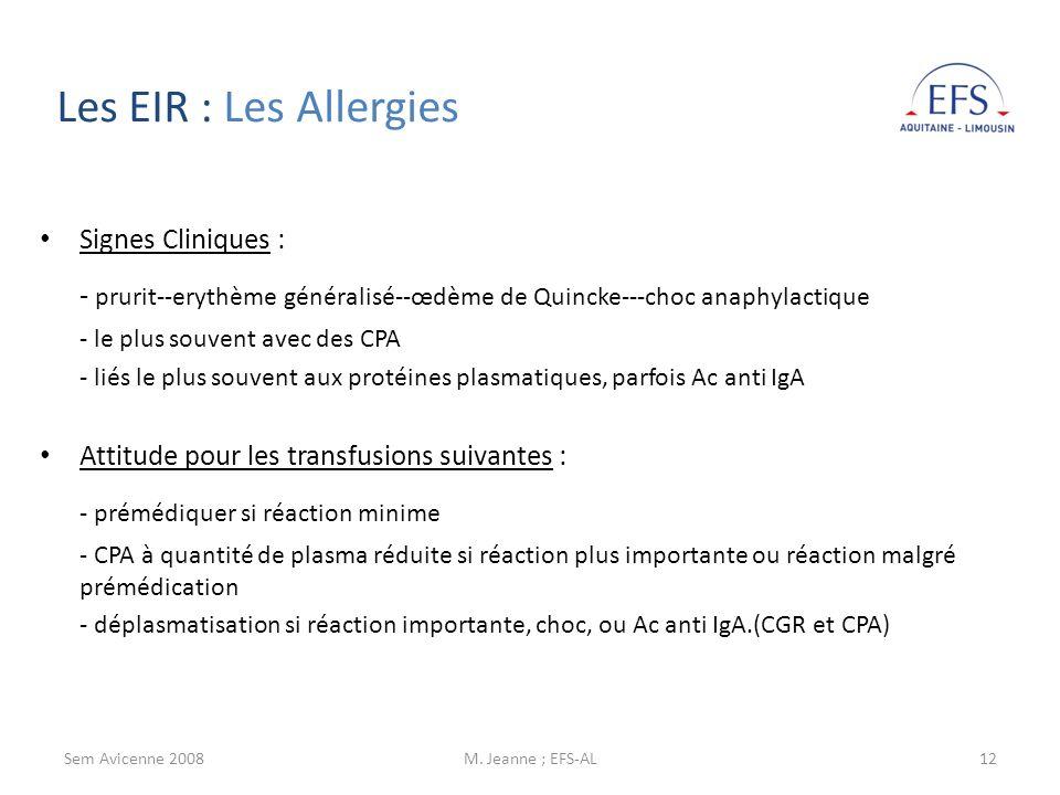 Sem Avicenne 2008M. Jeanne ; EFS-AL12 Signes Cliniques : - prurit--erythème généralisé--œdème de Quincke---choc anaphylactique - le plus souvent avec