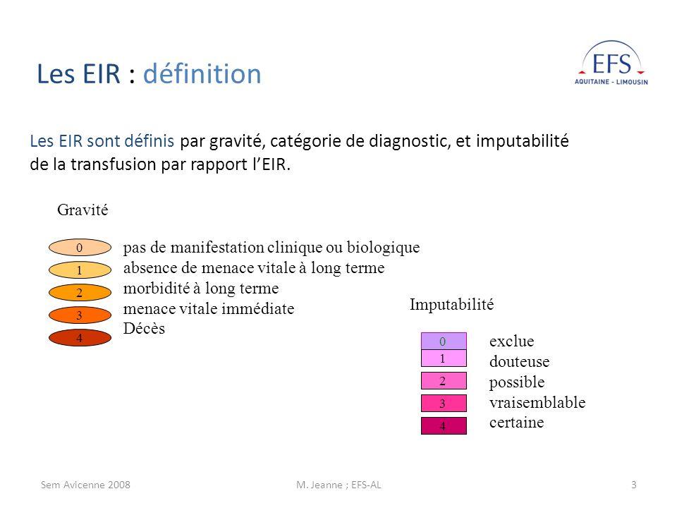 Sem Avicenne 2008M. Jeanne ; EFS-AL3 Les EIR sont définis par gravité, catégorie de diagnostic, et imputabilité de la transfusion par rapport lEIR. Im