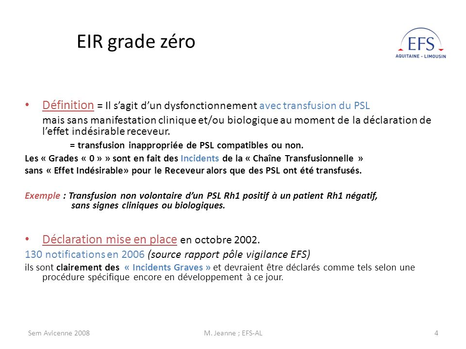 Sem Avicenne 2008M. Jeanne ; EFS-AL4 EIR grade zéro Définition = Il sagit dun dysfonctionnement avec transfusion du PSL mais sans manifestation cliniq