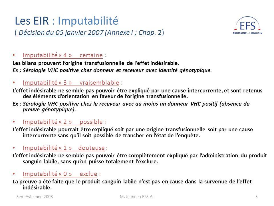 Sem Avicenne 2008M. Jeanne ; EFS-AL5 Imputabilité « 4 » certaine : Les bilans prouvent lorigine transfusionnelle de leffet indésirable. Ex : Sérologie