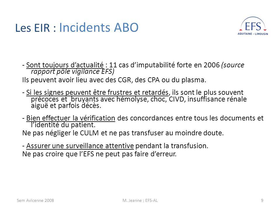 Sem Avicenne 2008M. Jeanne ; EFS-AL9 - Sont toujours dactualité : 11 cas dimputabilité forte en 2006 (source rapport pôle vigilance EFS) Ils peuvent a