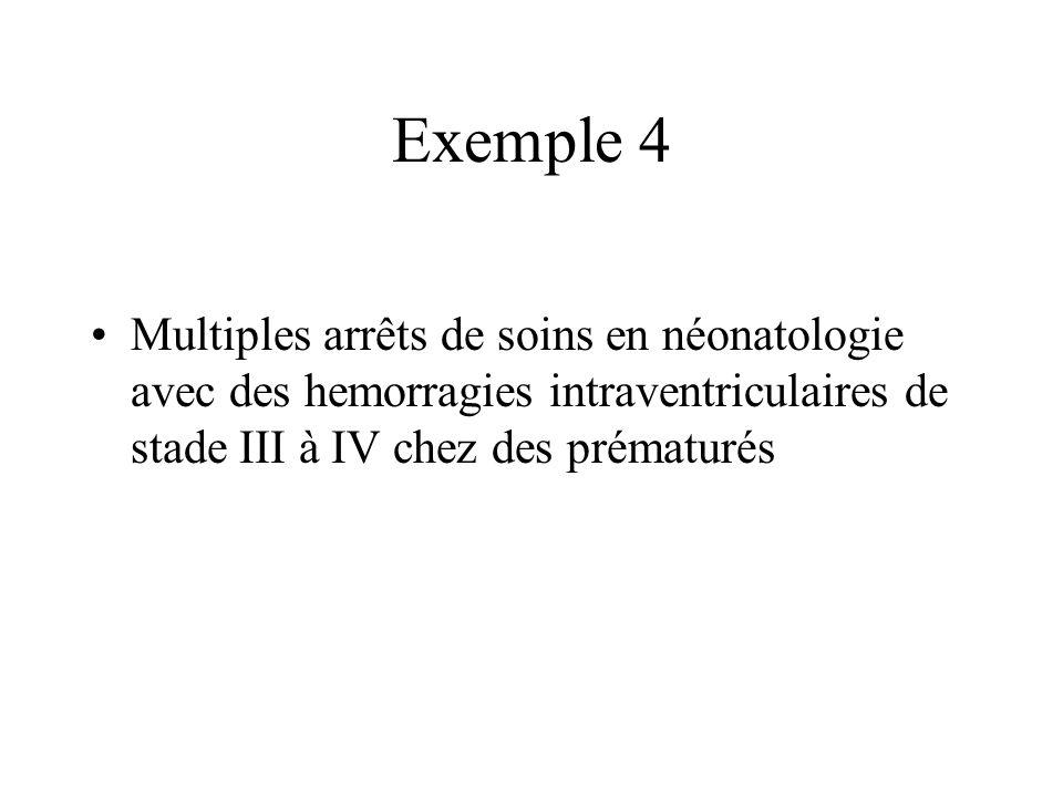 Exemple 4 Multiples arrêts de soins en néonatologie avec des hemorragies intraventriculaires de stade III à IV chez des prématurés