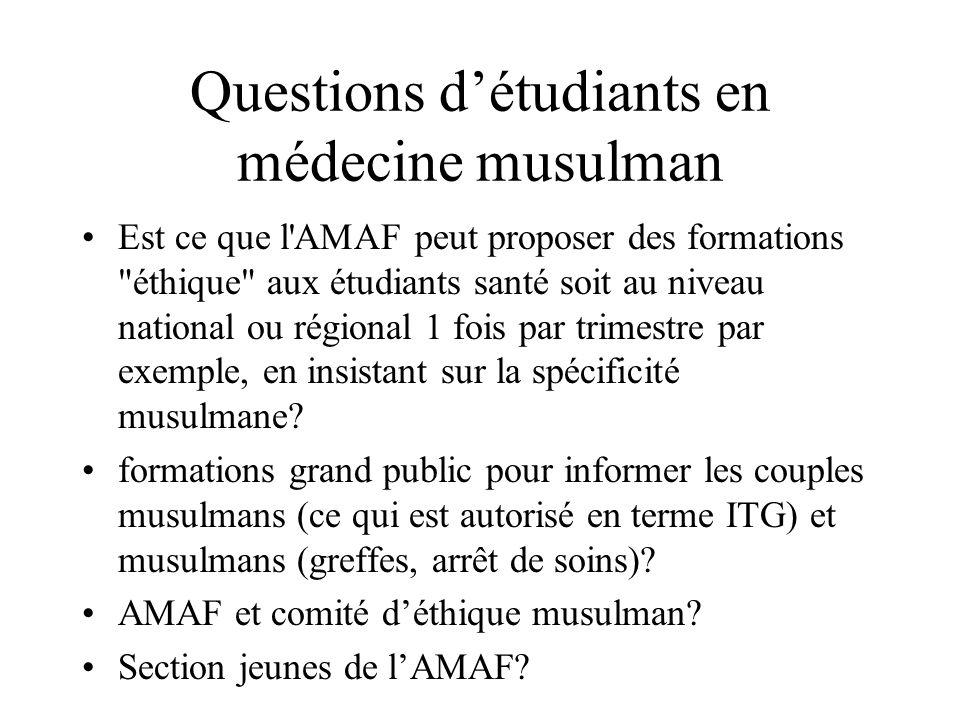 Questions détudiants en médecine musulman Est ce que l'AMAF peut proposer des formations