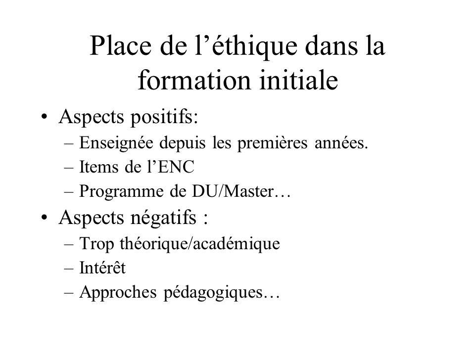 Place de léthique dans la formation initiale Aspects positifs: –Enseignée depuis les premières années. –Items de lENC –Programme de DU/Master… Aspects