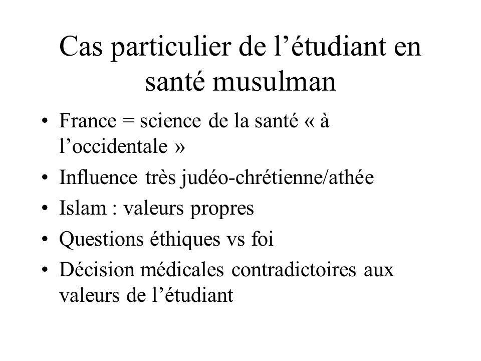 Cas particulier de létudiant en santé musulman France = science de la santé « à loccidentale » Influence très judéo-chrétienne/athée Islam : valeurs p