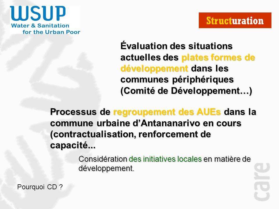 Structuration Évaluation des situations actuelles des plates formes de développement dans les communes périphériques (Comité de Développement…) Considération des initiatives locales en matière de développement.