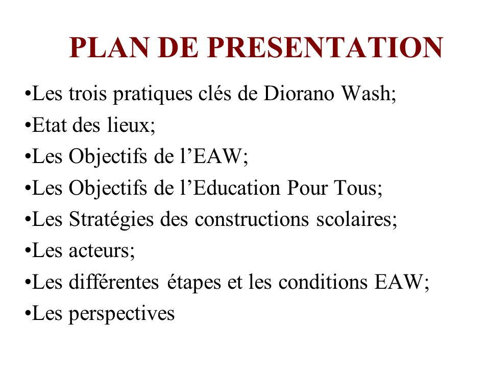 PLAN DE PRESENTATION Les trois pratiques clés de Diorano Wash; Etat des lieux; Les Objectifs de lEAW; Les Objectifs de lEducation Pour Tous; Les Strat
