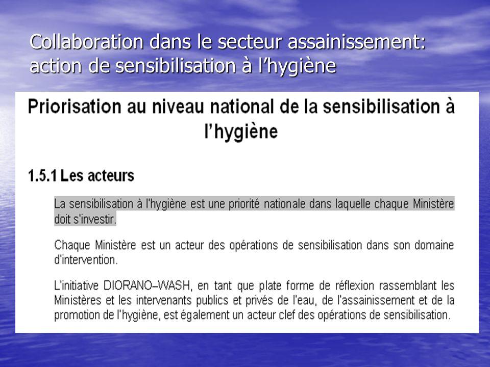 Collaboration dans le secteur assainissement: action de sensibilisation à lhygiène