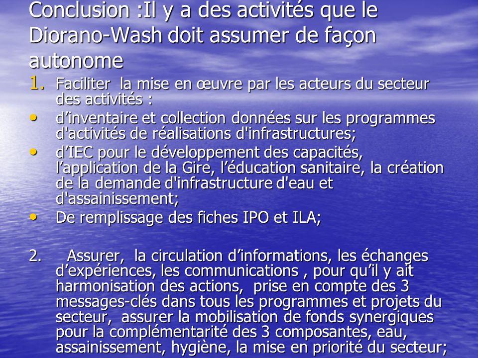 Conclusion :Il y a des activités que le Diorano-Wash doit assumer de façon autonome 1.