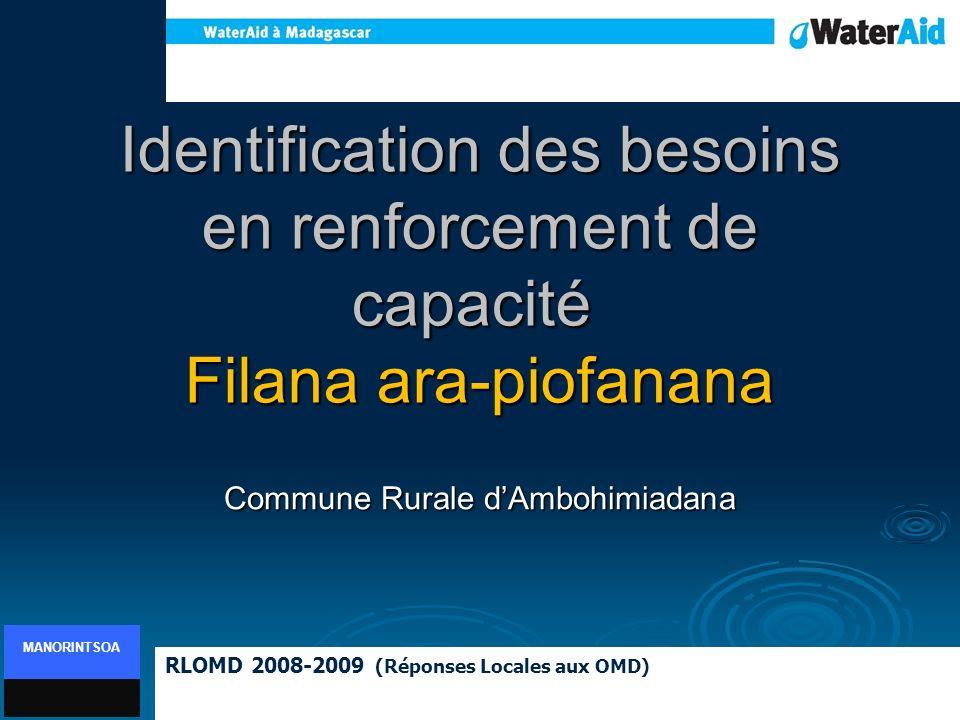 Identification des besoins en renforcement de capacité Filana ara-piofanana Commune Rurale dAmbohimiadana RLOMD 2008-2009 (Réponses Locales aux OMD) M