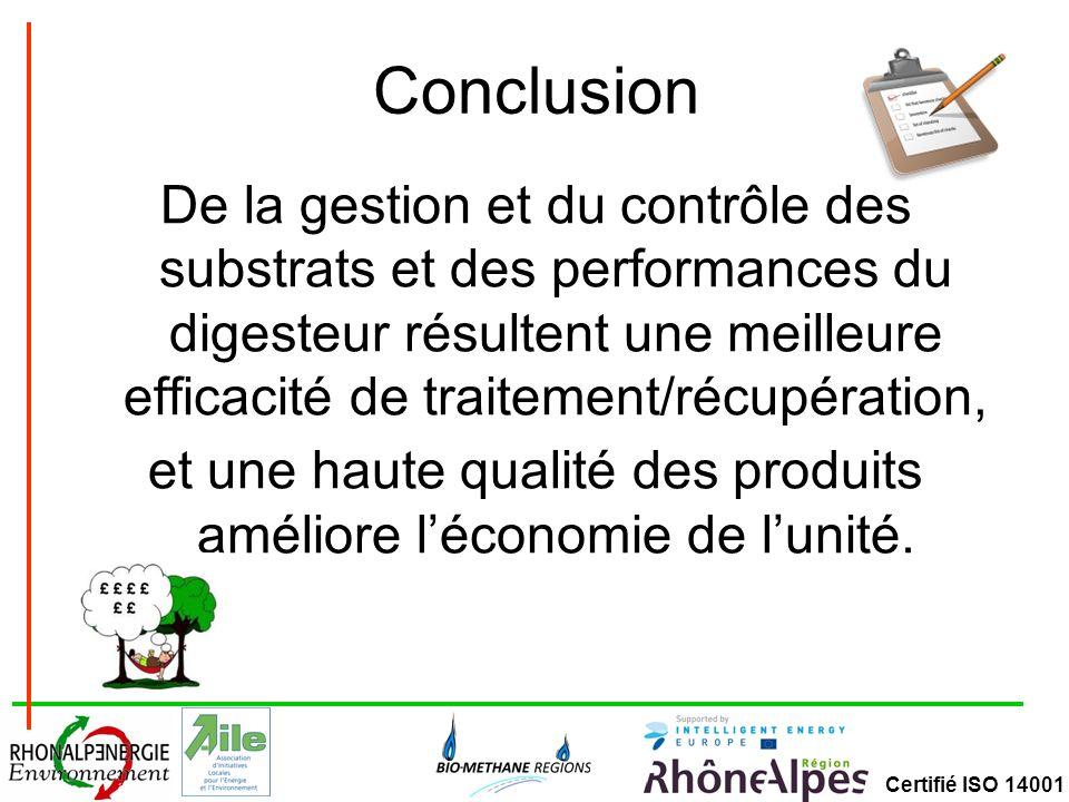 Conclusion De la gestion et du contrôle des substrats et des performances du digesteur résultent une meilleure efficacité de traitement/récupération,