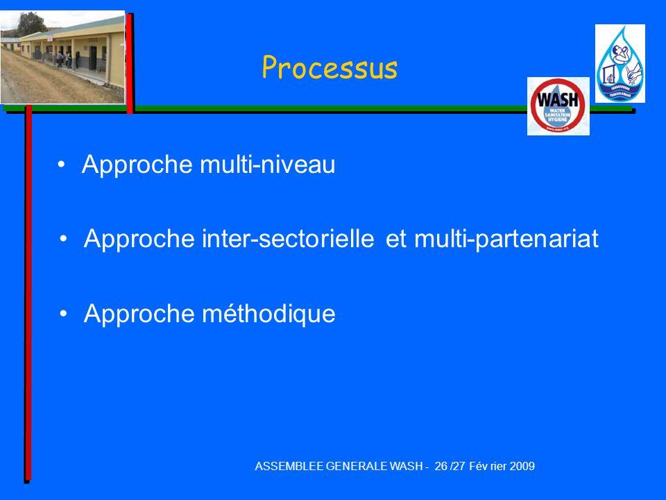 Processus Approche multi-niveau Approche inter-sectorielle et multi-partenariat Approche méthodique ASSEMBLEE GENERALE WASH - 26 /27 Fév rier 2009