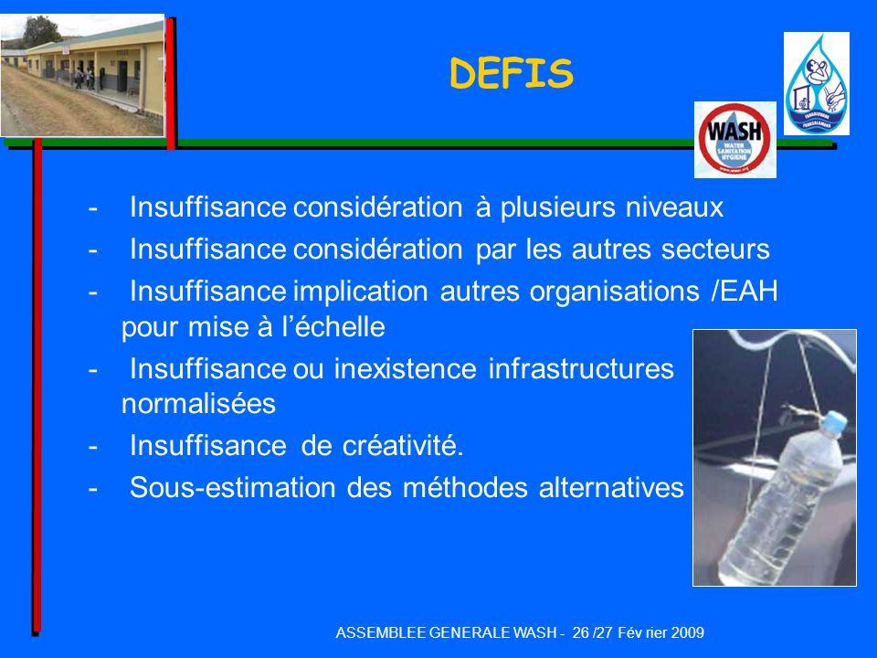 DEFIS - Insuffisance considération à plusieurs niveaux - Insuffisance considération par les autres secteurs - Insuffisance implication autres organisa