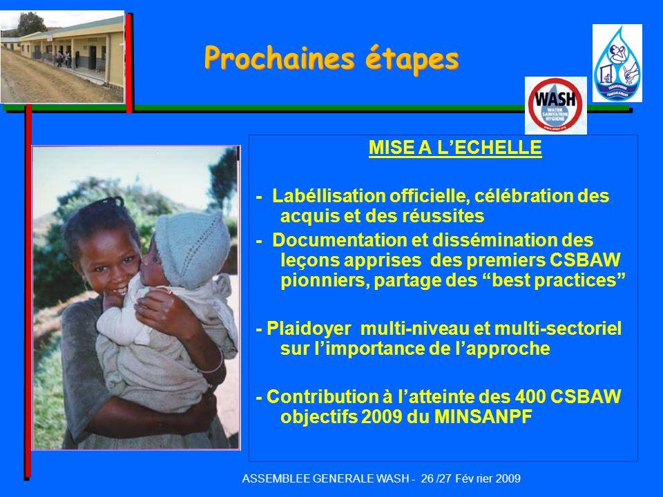 Prochaines étapes MISE A LECHELLE - Labéllisation officielle, célébration des acquis et des réussites - Documentation et dissémination des leçons appr