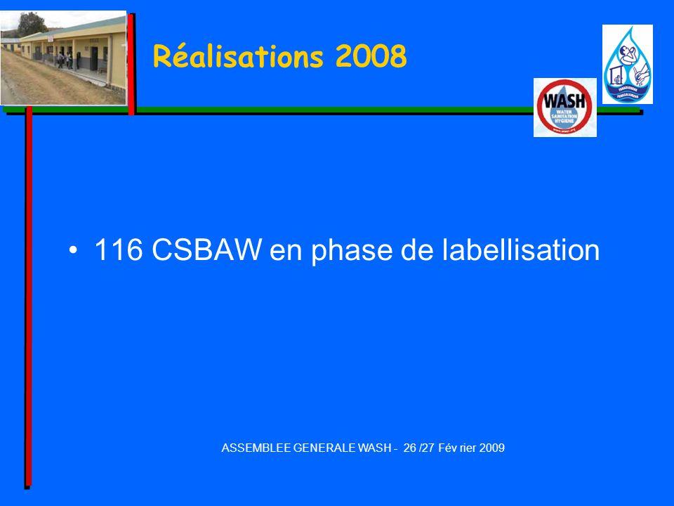 Réalisations 2008 116 CSBAW en phase de labellisation ASSEMBLEE GENERALE WASH - 26 /27 Fév rier 2009