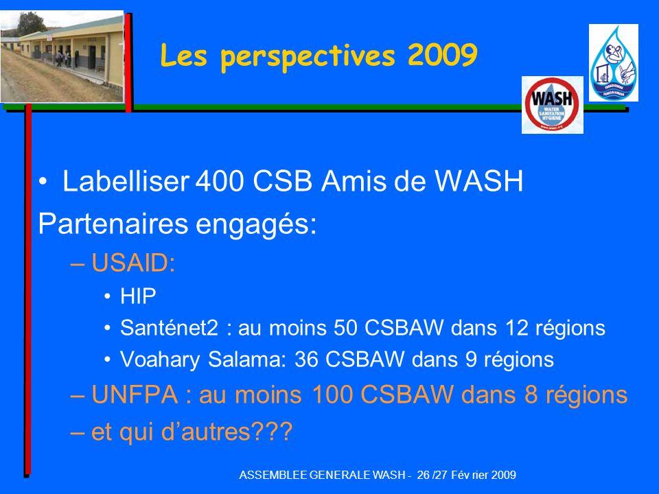 Les perspectives 2009 Labelliser 400 CSB Amis de WASH Partenaires engagés: –USAID: HIP Santénet2 : au moins 50 CSBAW dans 12 régions Voahary Salama: 3