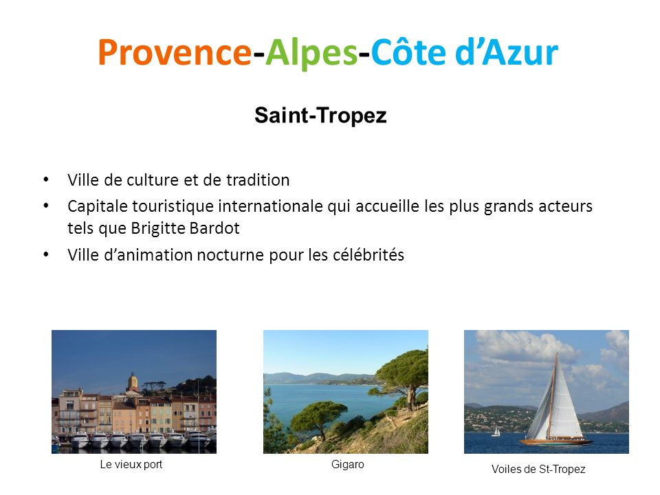 Provence-Alpes-Côte dAzur Ville de culture et de tradition Capitale touristique internationale qui accueille les plus grands acteurs tels que Brigitte