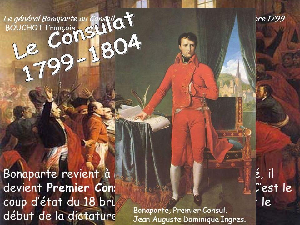 Bonaparte revient à Paris. Fort de sa popularité, il devient Premier Consul: il a tous les pouvoirs. Cest le coup détat du 18 brumaire (novembre 1799)