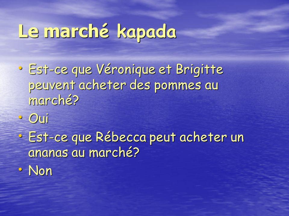Le march é kapada Est-ce que Véronique et Brigitte peuvent acheter des pommes au marché.