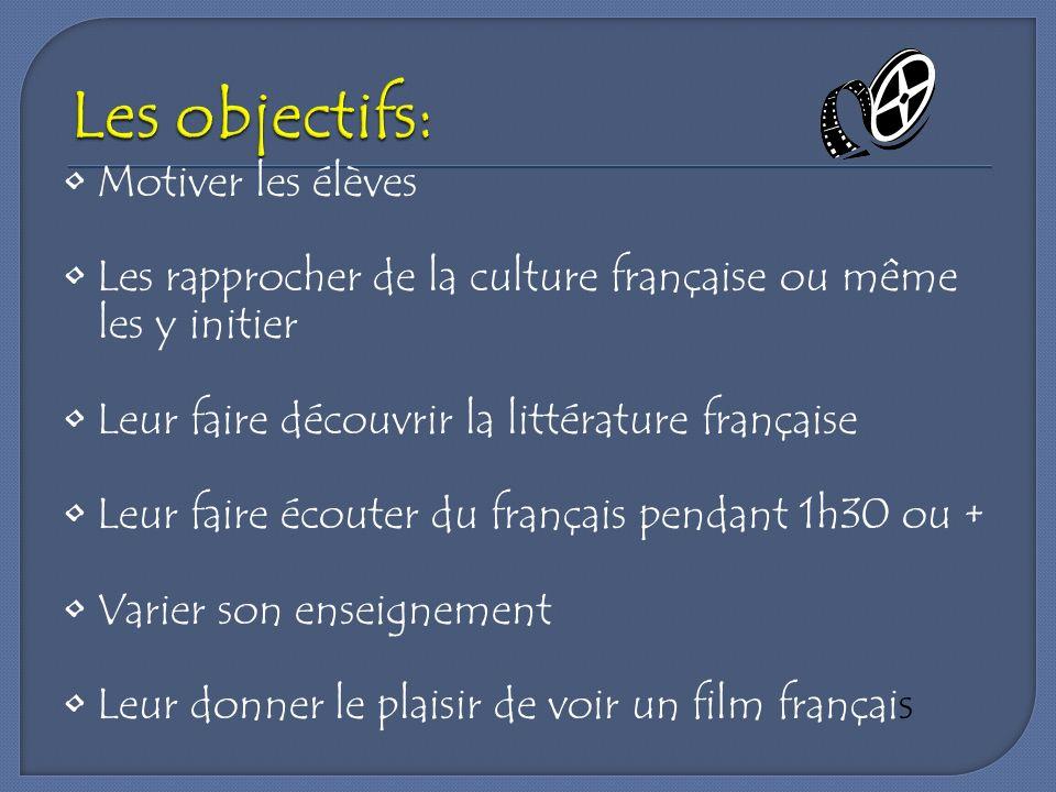 Motiver les élèves Les rapprocher de la culture française ou même les y initier Leur faire découvrir la littérature française Leur faire écouter du fr