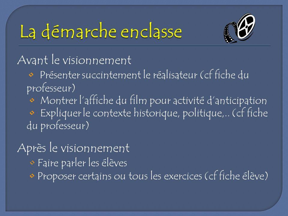 Avant le visionnement Présenter succintement le réalisateur (cf fiche du professeur) Montrer laffiche du film pour activité danticipation Expliquer le