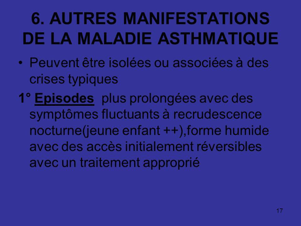 17 6. AUTRES MANIFESTATIONS DE LA MALADIE ASTHMATIQUE Peuvent être isolées ou associées à des crises typiques 1° Episodes plus prolongées avec des sym