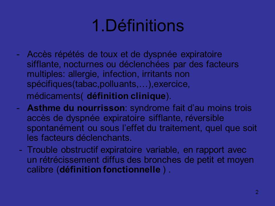 2 1.Définitions - Accès répétés de toux et de dyspnée expiratoire sifflante, nocturnes ou déclenchées par des facteurs multiples: allergie, infection,