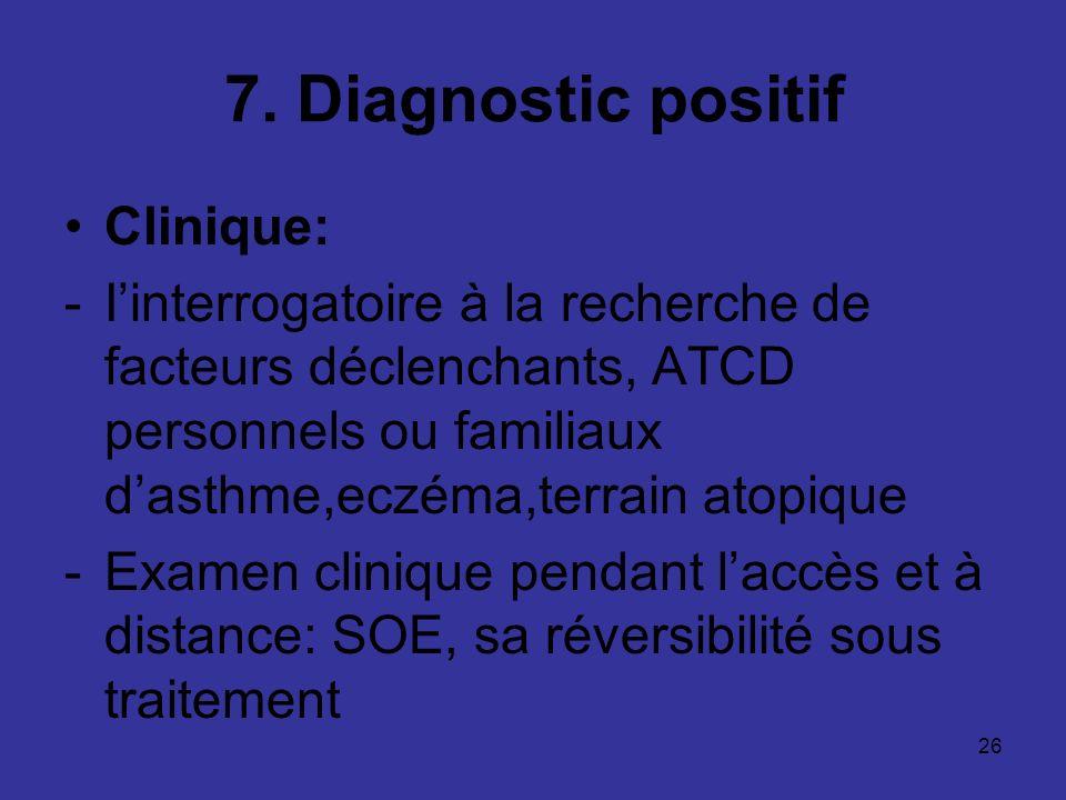 26 7. Diagnostic positif Clinique: -Iinterrogatoire à la recherche de facteurs déclenchants, ATCD personnels ou familiaux dasthme,eczéma,terrain atopi