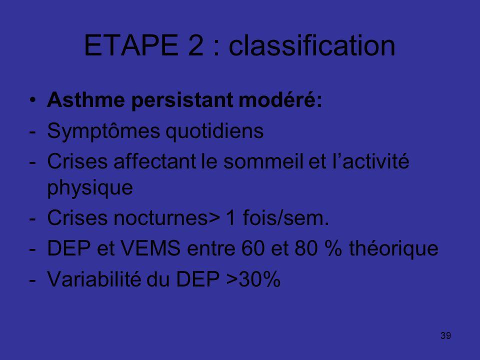 39 ETAPE 2 : classification Asthme persistant modéré: -Symptômes quotidiens -Crises affectant le sommeil et lactivité physique -Crises nocturnes> 1 fo